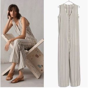 Madewell stripe button-down jumpsuit